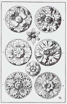 Различные типы розеток из «Руководства по орнаменту» Франца Майера (1898)