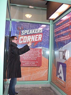Speakers' Corner (TV series) - A man speaking towards the camera in an A-Channel Speaker's Corner Booth in Ottawa