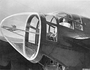Northrop P-61 Black Widow - Close-up view of the P-61 night fighter's radar operator's compartment in the rear of the fuselage, East Field, Saipan, Mariana Islands, 20 July 1944.
