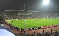 Top-level football in Sofia: PFC Levski Sofia playing Chelsea F.C. at the Vasil Levski National Stadium during the UEFA Champions League 2006-07
