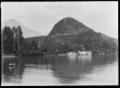 "Paddle steamer ""Mountaineer"" at the jetty at Bob's Cove, Lake Wakatipu ATLIB 314503.png"