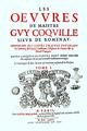 Page de titre, Œuvres de Me Guy Coquille, sieur de Romenay, tome I, 1646.png