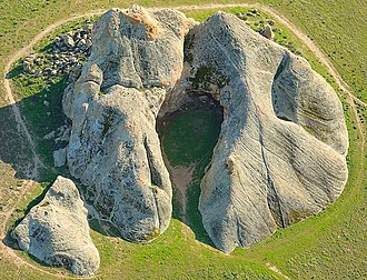 Painted Rock (San Luis Obispo County, California) - Aerial view of Painted Rock looking south, taken February, 2019.