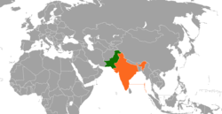 Map indicating locations of Pakistan and India