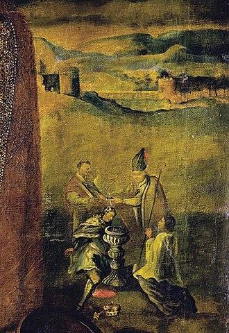 Mindaugas - Baptism of Mindaugas, 17th century portrait