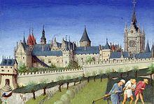 Palais de la Cité a Sainte-Chapelle, při pohledu z levého břehu, z Très Riches Heures du duc de Berry (měsíc červen) (1410)