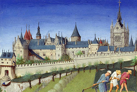 The Palais de la Cite and Sainte-Chapelle, viewed from the Left Bank, from the Tres Riches Heures du duc de Berry (month of June) (1410) Palais de la Cite.jpg