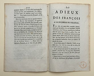 Yolande de Polastron - Pamphlet against the duchesse de Polignac printed in 1789 after her escape to Switzerland