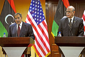 Foreign relations of Libya - U.S. Defence Secretary Leon Panetta and Transitional Libyan Prime Minister Abdurrahim El-Keib, conduct a press conference in Tripoli, Libya on Dec. 17, 2011.