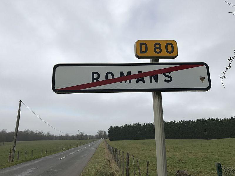 Panneau de sortie de Romans, dans l'Ain.
