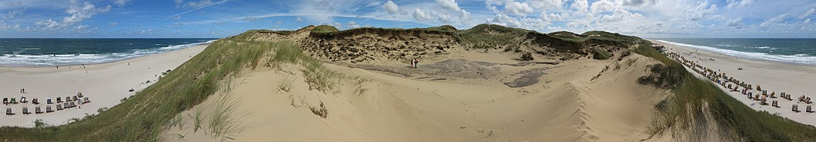 Panoramic view (360°) on the Rotes Kliff on the island of Sylt