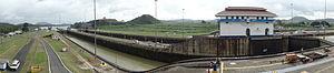 Miraflores (Panama) - Image: Panorama of Miraflores Locks From Visitor's Center (02)