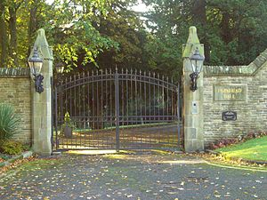 Parkhead Hall - The entrance gates on Ecclesall Road South.