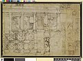 Parmigianino - Verso Studies for S Mario della Steccata; an arcade with panels containing animals and figures Pen and brown and grey ink, grey wash, 1918,0615.3.jpg