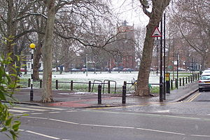 Parsons Green (The green) - The green at Parsons Green in winter 2004.