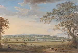 1794 in art - Paul Sandby – A View of Vinters at Boxley, Kent, with Mr. Whatman's Turkey Paper Mills (1794), gouache and watercolour painting on Whatman wove paper