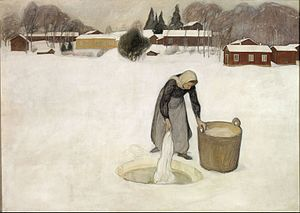 Pekka Halonen - Image: Pekka Halonen Washing on the Ice Google Art Project