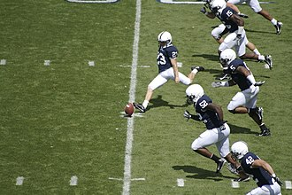 Kickoff (gridiron football) - The 2007 Penn State Nittany Lions football team kicks the ball off after scoring a touchdown in their season opening game