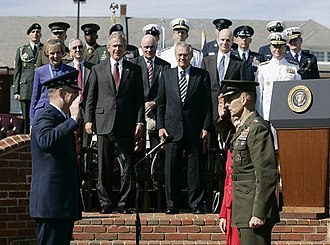 Peter Pace - Pace is sworn in as Chairman of the Joint Chiefs of Staff by outgoing Chairman Richard Myers, September 30, 2005.