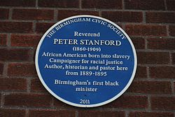 Photo of Peter Stanford blue plaque