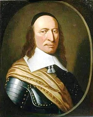 Peter Stuyvesant, Director-General of New Netherland (New York). His provincial capital, New Amsterdam, was located at the southern tip of the island of Manhattan. Peter Stuyvesant.jpg