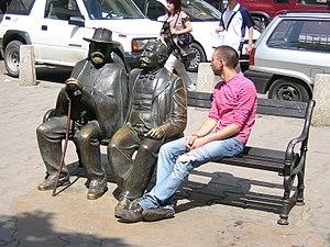 Petko Slaveykov - Petko Slaveykov (right sculpture) and his son Pencho (left sculpture) as immortalized on Slaveykov Square in Sofia