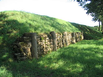 Rampart (fortification) - Reconstructed pfostenschlitzmauer of the oppidum at Finsterlohr, Creglingen, Germany