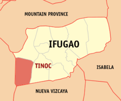 Map of Ifugao with Tinoc highlighted