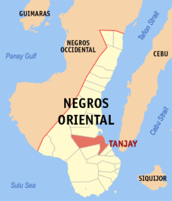 Map of Negros Oriental showing the location of Tanjay.