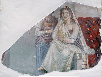 Phaedra (mythology) - Phaedra with an attendant, probably her nurse, a fresco from Pompeii, 60-20 BC