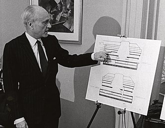 Philip Johnson - Johnson with plans for his Boston Central Library addition