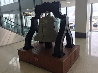 Philadelphia International Airport - Liberty Bell replica using LEGO bricks in Terminal A West