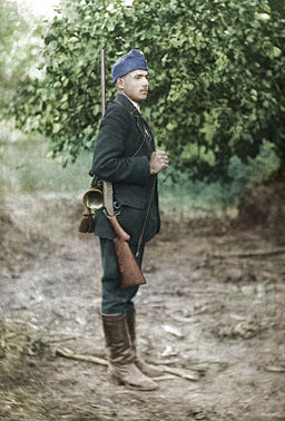 Photo History WWI Hungary - A Hungarian soldier on the Italian front (colored)