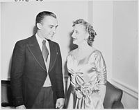 Photograph of Margaret Truman with Howard Mitchell, conductor of the National Symphony Orchestra, on the occasion of... - NARA - 200134.jpg