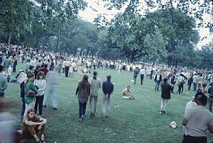 1968 Democratic National Convention protest activity - People in Lincoln Park during the convention