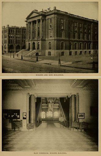 William G. Preston - Images of the exterior and main hall of the Rogers Building, 1864, Massachusetts Institute of Technology (The Walker Building is in the background in the upper view.)