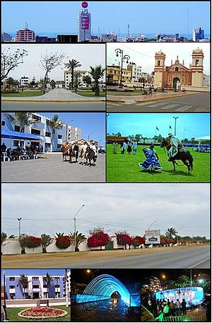Víctor Larco Herrera District - From top and left to right: View toward Víctor Larco city, Main Square of Vista Alegre, Santiago de Huamán church, Paso Horses in a parade, Marinera dance with a Paso horse, Association of Breeders and Owners of Paso Horses in La Libertad, Municipality of Victor Larco in Buenos Aires, Pedestrian walk of waters