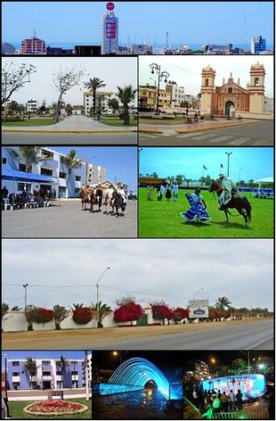 From top and left to right: View toward Víctor Larco city, Main Square of Vista Alegre, Santiago de Huamán church, Paso Horses in a parade, Marinera dance with a Paso horse, Association of Breeders and Owners of Paso Horses in La Libertad, Municipality of Victor Larco in Buenos Aires, Pedestrian walk of waters