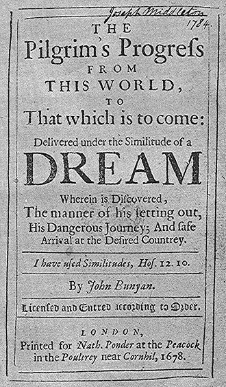 John Bunyan - Pilgrim's Progress, first edition 1678.