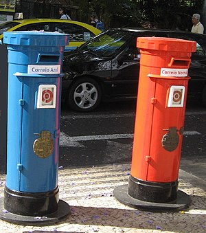 Pillar boxes on the island of Madeira. Blue fo...
