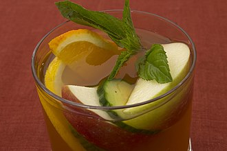 Pimm's - Pimm's and lemonade with mint sprigs and fruit