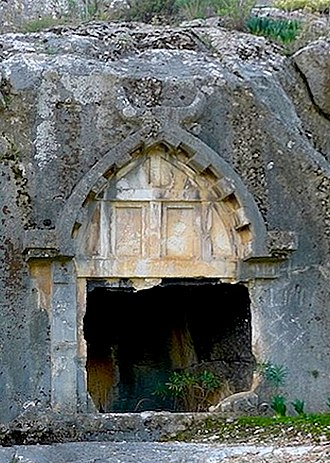 Rock-cut architecture - Lycian rock-cut tomb with ogival barrel-vaulted roof, 4th century BCE.