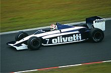 Photo de Nelson Piquet sur une Brabham BT54 en 1985.