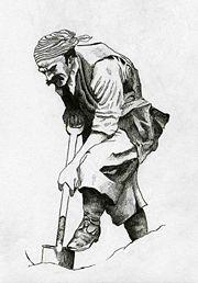 Um pirata cavando à procura de um tesouro.