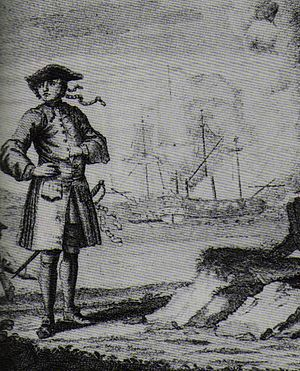 Edward England - An engraving depicting the pirate Edward England with, in the background, the fight of the Fancy (left) and the Cassandra.