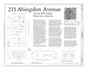 Plan and Elevations - 215 Abington Avenue (House), Huntsville, Madison County, AL HAER AL-155 (sheet 1 of 1).png