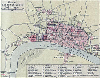Holborn - Image: Plan of London in 1300
