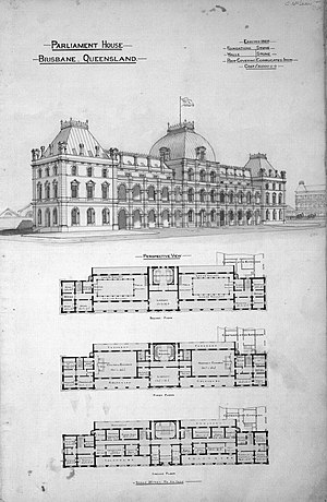 Parliament House, Brisbane - Image: Plan of Parliament House, Brisbane, circa 1867