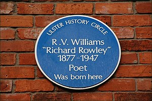 Richard Rowley - Blue plaque at Richard Rowley's birthplace in Belfast