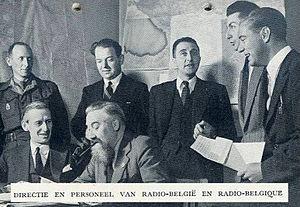Victor de Laveleye - de Laveleye seated left, London 1944